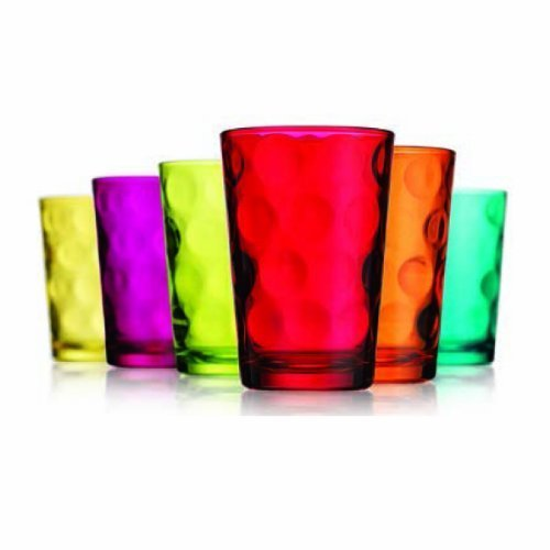 Home Essentials & Beyond ECLIPSE SET OF 6 7oz COLORED JUICE GLASS via Amazon
