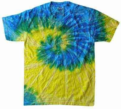 Tie Dye SPIRAL BLUE YELLOW Retro Vintage Groovy Youth Kids Tee Shirt T-Shirt