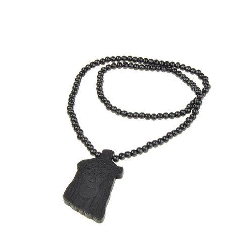 BestDealUSA Wooden Jesus Piece Rosary Necklace Christ Pendant Chain Black