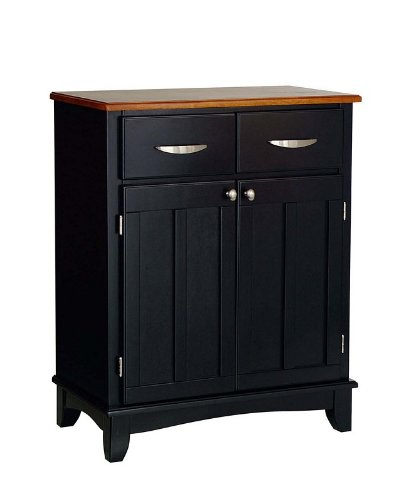 Cheap Server Sideboard with Cottage Oak Wood Top in Black Finish (VF_HY-5001-0046)