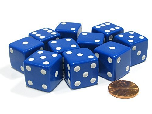 Set of 10 Large Six Sided Square Opaque 19mm D6 Dice - Blue with White Pip Die - 1