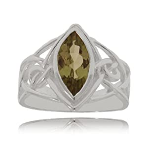 Sterling Silver Celtic Knot Ring - Marquise Smoky Topaz Size: 9