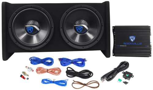 "Rockville Rv12.2A Single 12"" 1200 Watts Peak / 400 Watts Rms Bass Enclosure System With Matching Mono Block Class A/B Car Amplifier With Wiring Kit And Wired Bass Remote Knob"