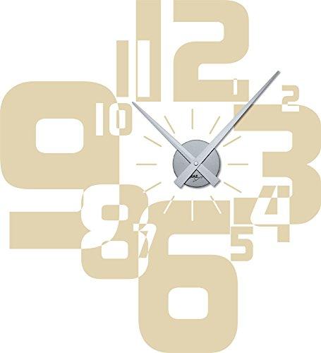 Wandtattoo Uhr Wanduhr mit Uhrwerk für Wohnzimmer moderner Zahlenmix Zahlen (Uhrwerk silber//082 beige)