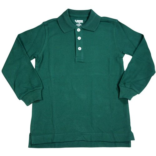 French Toast - Little Boys Long Sleeve Pique Polo, Hunter 33347-3T front-1067889
