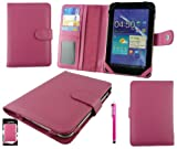 Emartbuy® Hot Pink Stylus + Universal Range Hot Pink Basic Wallet Case Cover With Card Slots Suitable for Alcatel One Touch POP 7 7 Inch Tablet