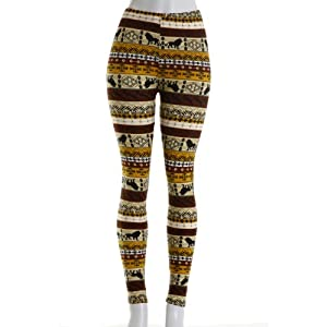 VIV Collection Women's High Quality Silked Leggings (Lion)
