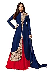 Pal Export Women's Georgette Semi Stitched Dress Material (Pack of 8) (BL-Blue2_Blue_Free Size)