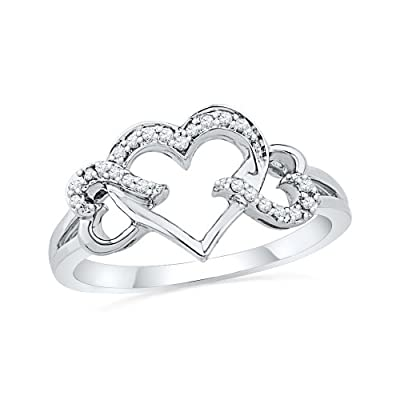 Diamond Triple Heart Ring Stirling Silver Promise Ring