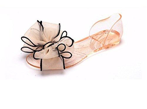 mineroad Womens Ladies estate traspirante scarpe da spiaggia in cristallo fiocco piatto casual sandali scarpe apricot EU 3