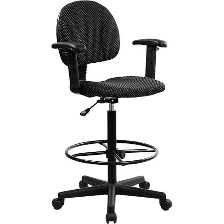 Ergonomic Multi-Function Drafting Stool with Adjustable Arms, Black Bt 659 Blk Arms