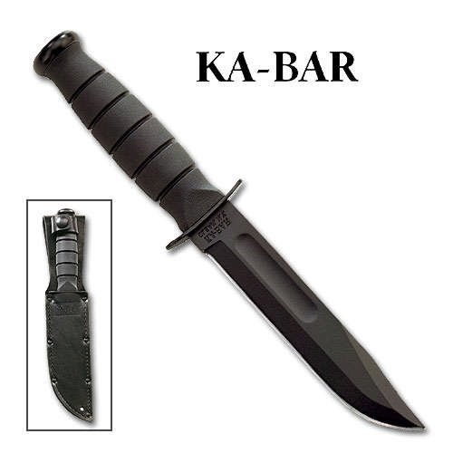 KA-BAR 2-1256 Short Ka-Bar Black, Leather Sheath,