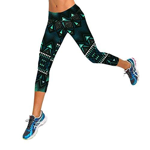 CreazyDog® High Waist Fitness Yoga Sport Pants Stretch Cropped Leggings (Dark Green, M)