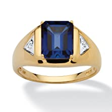 buy Men'S Emerald-Cut Lab-Created Blue Sapphire Diamond Accent 18K Gold Over .925 Silver Ring
