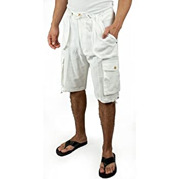 Cotton beach cargo shorts in White