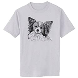 Papillon Dog Art T-Shirt, 2XL, Ash