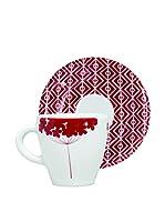 ZZZ_Merry Christmas Set Taza De Café con Plato 4 Uds. Magatama Rojo