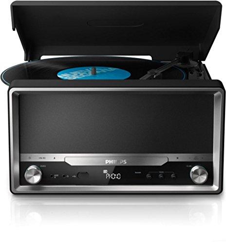 Philips OTT2000/12 Giradischi, Bluetooth, Audio in, USB Diretta, Lettore MP3-CD/CD/CD-R/RW, Nero