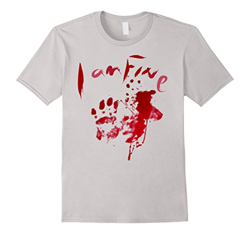 Blood splatter zombie apocalypse I am fine T shirt - Male XL - Silver