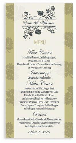 235 Wedding Menu Cards - Vines Beige Olive & Midnight front-1002098