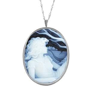Sterling Silver Italian Blue Agate Lady Profile Pin-Pendant Necklace, 18""