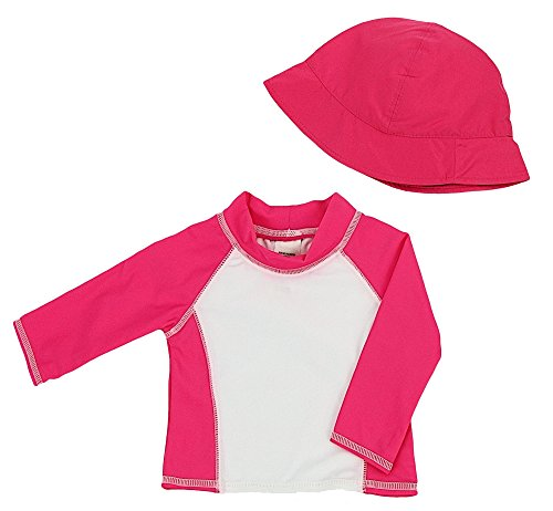 buy Baby Girls Infant Long Sleeve Rashguard Shirt with Matching Hat - UPF 50+ Sun Protection (S/6 Months) for sale