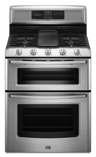 Maytag Gemini MGT8885XS 30 Freestanding Double-Oven Gas Range, 5 Burners, Stainless Steel