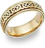 Caer Celtic Knot Wedding Band Ring, 14K Gold