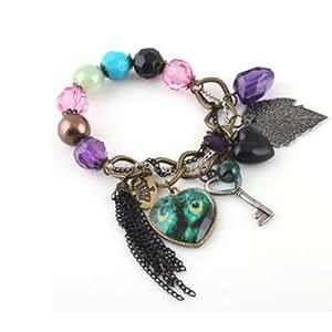 niceeshop(TM) Lady Cute Charm Lovely Heart Peacock Leaf Key Bangle Bracelet Chain With nieeEshohp Accessory