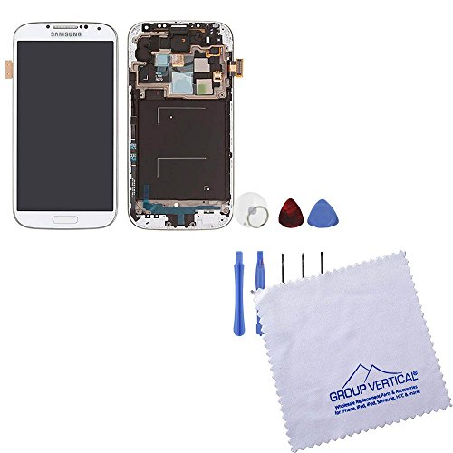 White Frost Complete Digitizer Assembly With Frame For Samsung Galaxy S4 + Tools
