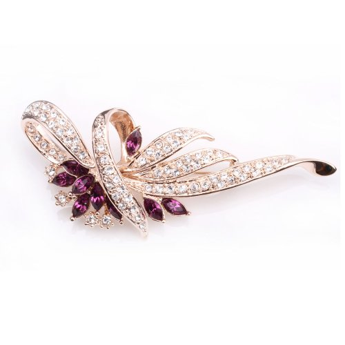 18K Gold Finish & Amethyst Purple Flower Wreath