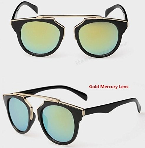 Super Star Fashion Sunglass 2015 new cat eye coating sunglasses women brand designer vintage sun glasses for men (Gold Mercury Lens)