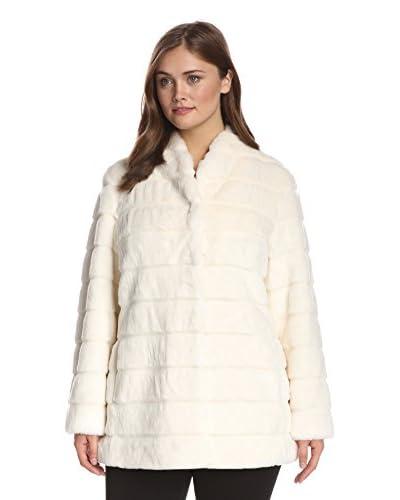 Ellen Tracy Plus Women's Collarless Faux Fur Coat
