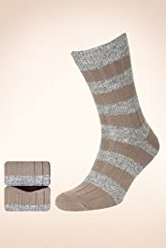 2 Pairs of North Coast Cotton Rich Block Striped Socks [T10-8613-S]