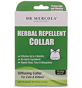 Herbal Repellent Collar For Cats & Kittens - No Harsh Ingredients - Repels Fleas, Ticks, Mosquitoes - Dr. Mercola Healthy Pets - 1 Collar (Effective Up To 4 Months) For Necks Up To 12""