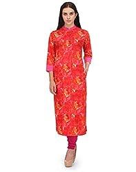 Adyana Floral Print Long Cotton Kurta with Pin Tucks (Large)