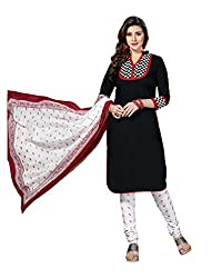 Drapes Women's BlackCotton printed Dress Material (Unstitched)