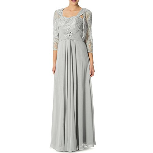 Enjoybuys Lace Crystal Chiffon Empire Mother Of The Bride Dress With Jacket (Us 24W, Silver)