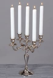 5 Arm Silver Candelabra Taper Candle Holders Wedding Centerpieces Chandeliers 28CMS