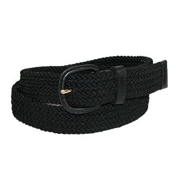 Aquarius Mens Elastic Stretch Belt with Tabs, 34/36, Black