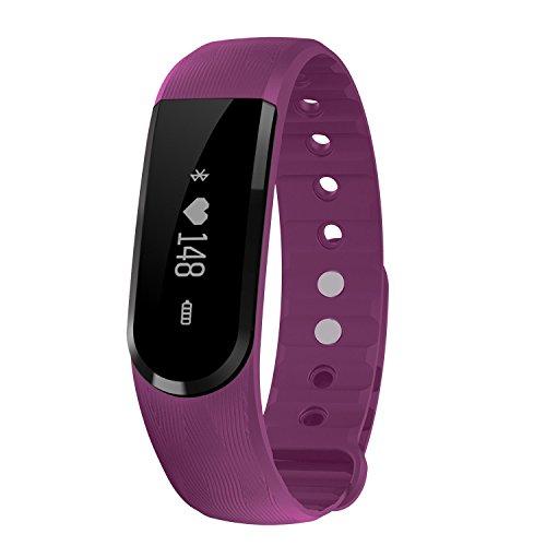 TINCINT Bluetooth4.0 スマートブレスレット 活動量計 心拍数検測  睡眠検測 健康守る 多機能スマートウォッチ (心拍数測定/歩数/距離/ 消費カロリー/遠隔カメラ/ 音楽プレー/着信通知) IPX7強力防水 Iphone/Android/ IOS対応  (紫)