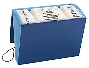 Smead Expanding Household File, Multi-indexed (A-Z, Jan.-Dec. and Household), 12 Pockets, Flap and Elastic Cord Closure, 9.5 x 7.5 Inches, Blue (70626)