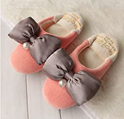 HSE slippers with soft soles matte wood floor home interior velvet slippers beautiful princess shoes, the right size 35-38, watermelon red