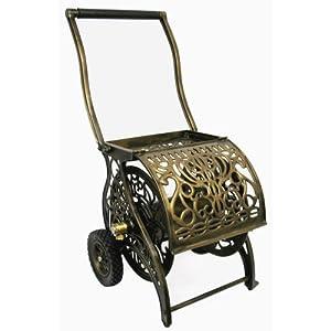 Liberty Garden Products Decorative Non-Rust Cast Aluminum 2-Wheeled Garden Hose Reel Cart With 200-Foot Capacity - Pantina Finish #805