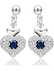 Glitz Trendy Collection Silver Plated Blue Heart Alloy Earrings For Women