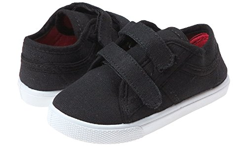 Capelli New York Solid Canvas Toddler Boys Sneaker with Velcro Straps Black 7