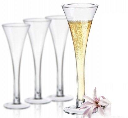 Verres à Champagne - verre à pied creux - 150 ml - Sables & Reflets - (Lot de 4)