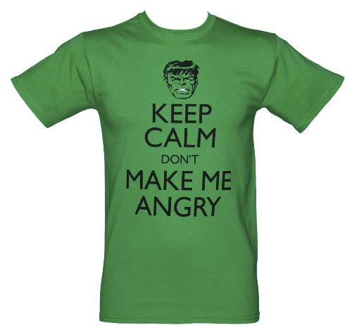 Official Marvel Hulk 'keep Calm And Don't Make Me Angry' Adult T-shirt Picture