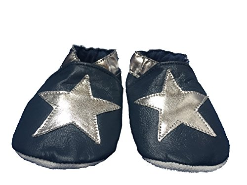Soft leather baby shoes blue with silver star