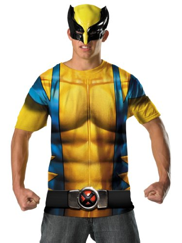 Wolverie Costume TShirt with Mask Yellow Easy Mens Superhero Theatrical Costume